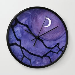Crescent Moon and Night Sky  Wall Clock