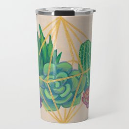 Geometric Terrarium 3 Acrylic on Wood Painting Travel Mug