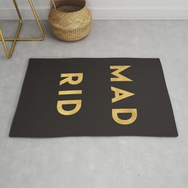 MADRID SPAIN GOLD CITY TYPOGRAPHY Rug