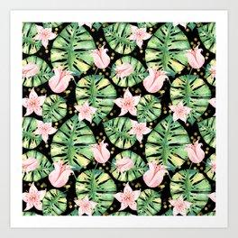 Tropical Monstera and Flower Pattern Art Print