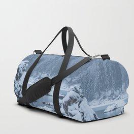 Heavy snow fall lake Fusine, Italy Duffle Bag