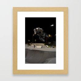 BMX skatepark night  Framed Art Print