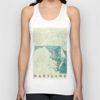 maryland Tank Tops featuring Maryland State Map Blue Vintage by City Art Posters