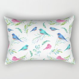 Beautiful Birds and Botanical Print Rectangular Pillow