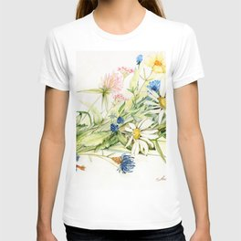 Bouquet of Wildflowers Original Colored Pencil Drawing T-shirt