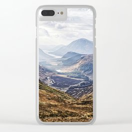 View of Glen Etive from Glencoe, Scotland Clear iPhone Case