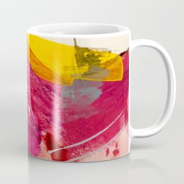 Pink Lemonade: a minimal, colorful abstract mixed media with bold strokes of pinks, and yellow Coffee Mug