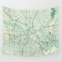 dallas Wall Tapestries featuring Dallas Map Blue Vintage by City Art Posters