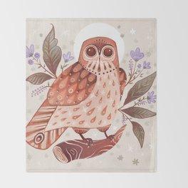 Owl Blooms Throw Blanket