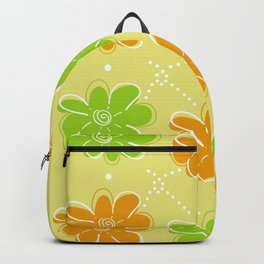 Orange & Green Floral Pattern Backpack