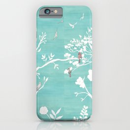 Chinoiserie Panels 1-2 White Scene on Teal Raw Silk - Casart Scenoiserie Collection iPhone Case