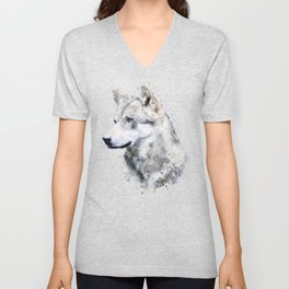 Watercolour grey wolf portrait Unisex V-Neck
