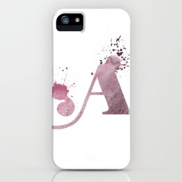 """A"" Watercolour Initial Typography Letter Illustration Hand Made iPhone Case"