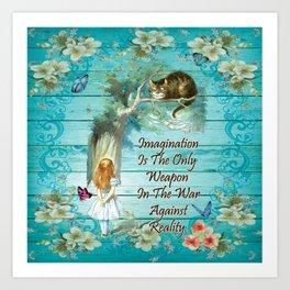 Floral Alice In Wonderland Quote - Imagination Art Print