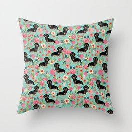 Doxie Florals - vintage doxie and florals gift gifts for dog lovers, dachshund decor, black and tan Throw Pillow