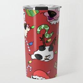 Pink Christmas Dog Travel Mug