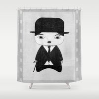alisa burke Shower Curtains featuring A Boy - Charlie Chaplin (B&W) by Christophe Chiozzi