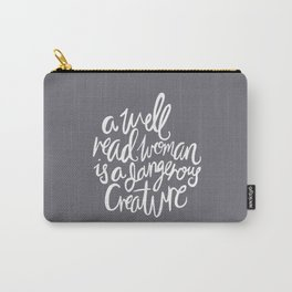 Well Read Woman - Nerd Girl Feminist Quote - White Grey Carry-All Pouch