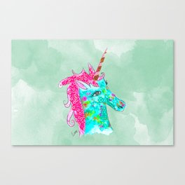 Unicorn on aqua watercolour Canvas Print