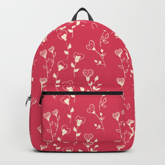 Doodle floral pattern in red Backpack