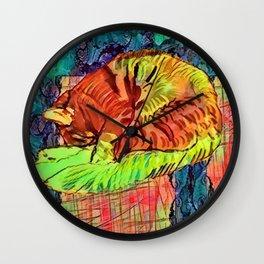 Sleeping Spicy Feline Painting (Ginger Cat) Wall Clock