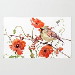Cardinal Bird and Poppies Rug