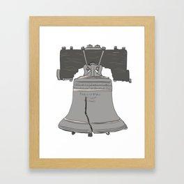 Liberty Bell in Grey Beige Bronze Framed Art Print