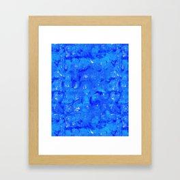 Tie Dye Shibori Water Cubes in Ocean Blue Framed Art Print