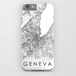 Geneva City Map Switzerland White and Black iPhone Case
