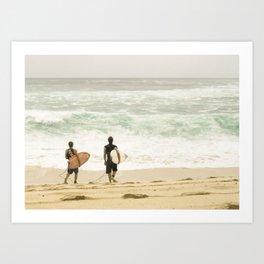 Surfers on Hawaii's North Shore Art Print