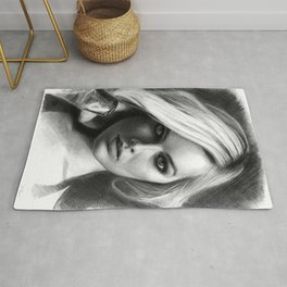 Margot Robbie Pencil Sketch Rug