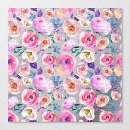 Blush pink gray lilac abstract botanical roses floral Canvas Print