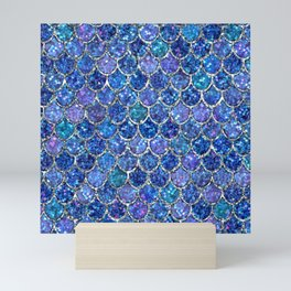 Sparkly Shades of Blue & Silver Glitter Mermaid Scales Mini Art Print
