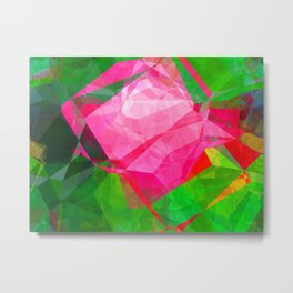 Pink Roses in Anzures 6 Abstract Polygons 1 Metal Print