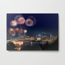 Fireworks over Pittsburgh on 4th July Metal Print