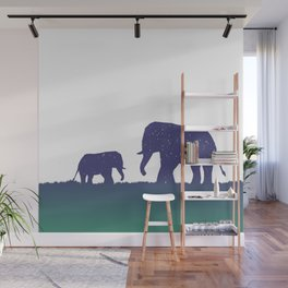 Elephant Silhouettes (Alternate)  Wall Mural