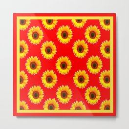 Scarlet Red & Golden Yellow Sunflowers Patterns Metal Print