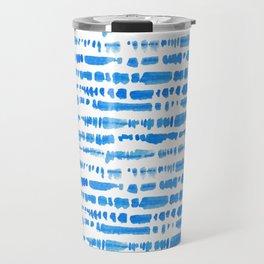 Indigo Shibori Brush Stroke Pattern Travel Mug