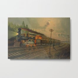 Night Scene on the NY Central Railroad (Currier & Ives) Metal Print