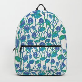 Blue Rose Flowers Plant Pattern // Roses Watercolor //Hand Drawn Roses Pattern// Blue Floral Backpack
