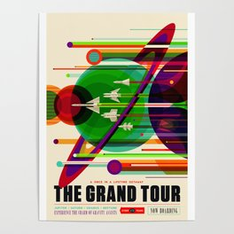NASA Space Saturn Shuttle Retro Poster Futuristic Explorer Poster