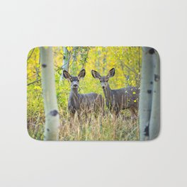 Double Take - Pair of Young Mule Deer Hiding in Autumn Aspens Bath Mat