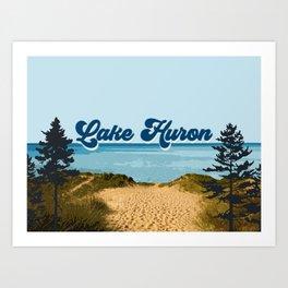Lake Huron Retro Art Print