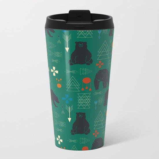 Tribal bear Green Metal Travel Mug