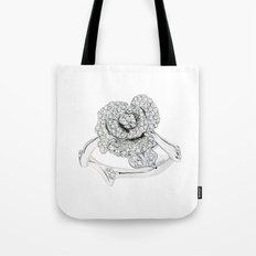 Silver Rose Ring Tote Bag