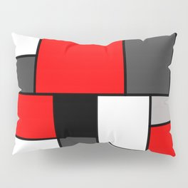 Red Black and Grey squares Pillow Sham