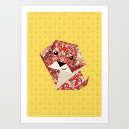 Origami Puppies With Yellow Background Art Print
