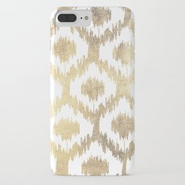 Modern white hand drawn ikat pattern faux gold  iPhone Case