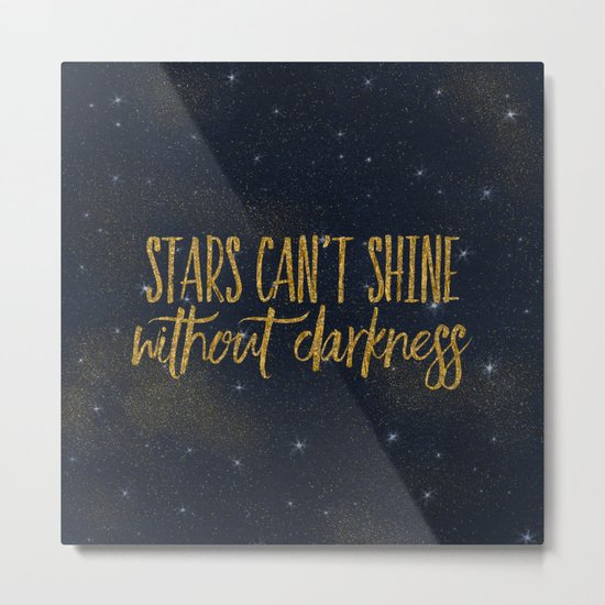 Stars- Darkness - sparkling gold glitter effect night typography 1 on #Society6 Metal Print