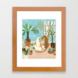Urban Jungle Illustration, Tiger Home Decor, Woman & Modern Bohemian Wildlife Painting Framed Art Print